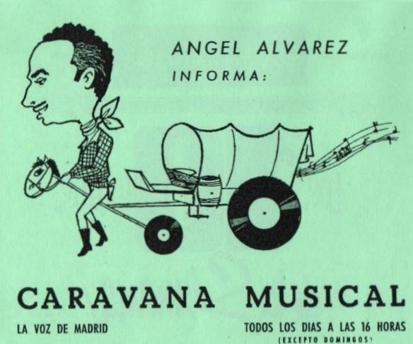 Rock and roll radio. Cartel anunciador de Caravana musical con Ángel Álvarez.