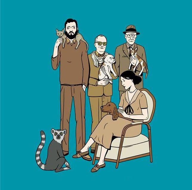 """""""Machina Animata"""". Julio Cortázar, Truman Capote, William Burroughs y Virginia Woolf con sus amigos no humanos. Ilustración de portada del libro """"Perros, gatos y lémures. Los escritores y sus animales"""""""