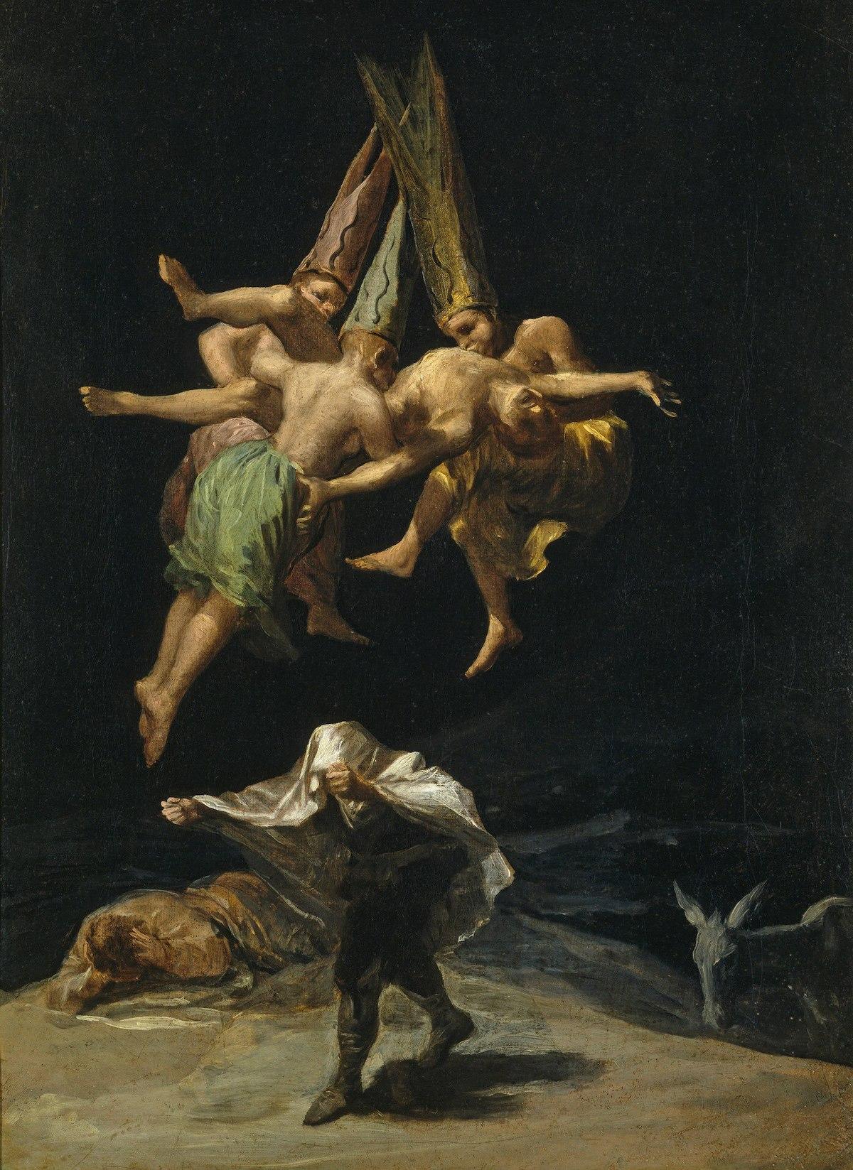 Vuelo de brujas, Francisco de Goya, 1797-98. Narrativas sobre brujas: de la misoginia al reconocimiento. Por Lía Guerrero. Aliar Ediciones.